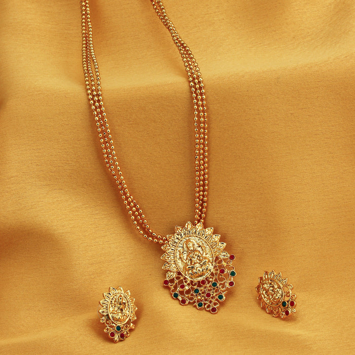Sukkhi Classic Gold Plated Goddess Laxmi Multi-String Necklace Set for Women