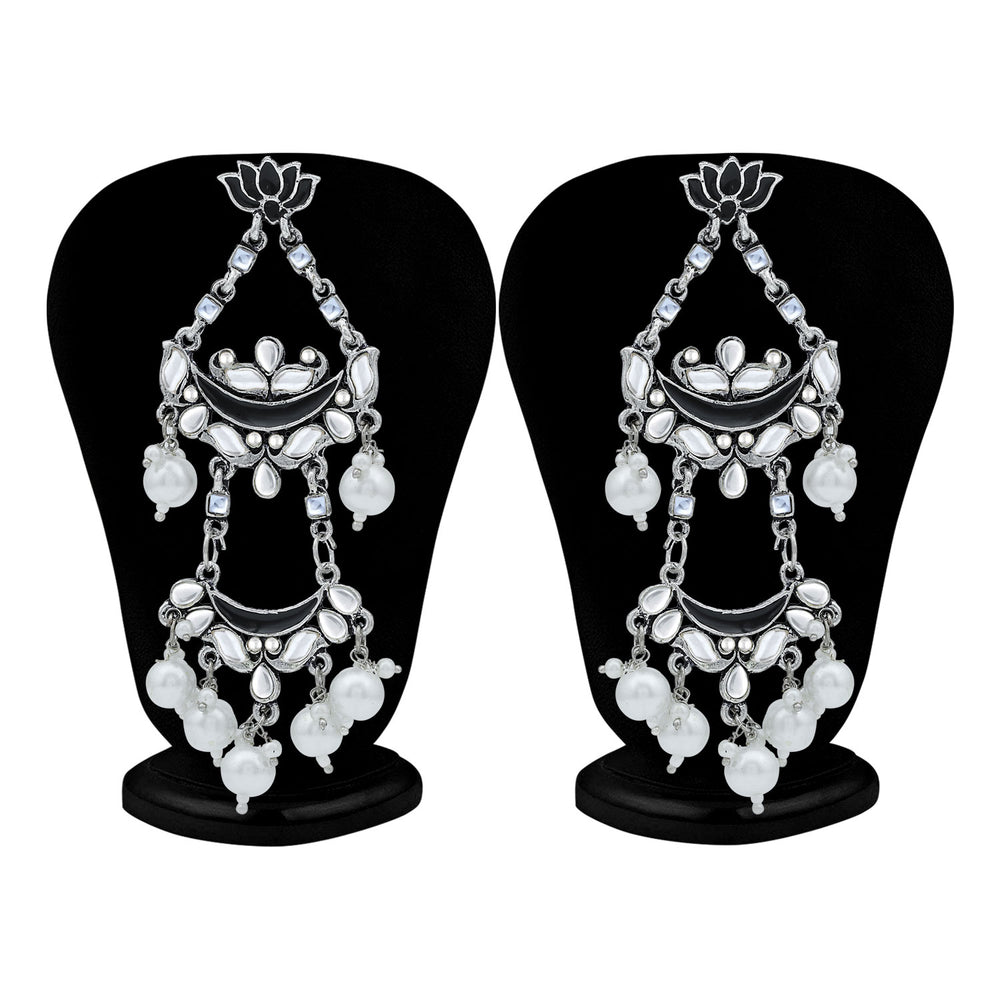 Sukkhi Glorious Pearl Oxidised Kundan Lotus Meenakari Chandelier Earring For Women