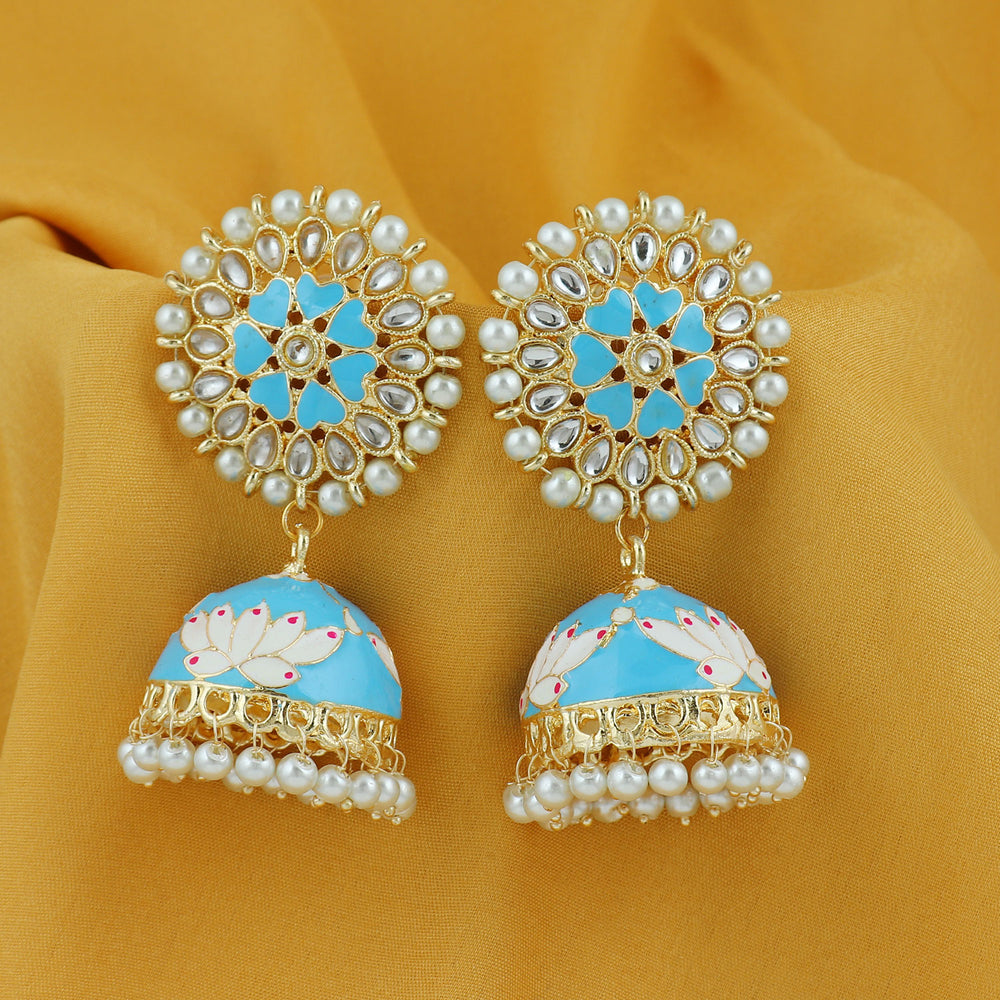 Sukkhi Brilliant Pearl Gold Plated Lotus Meenakari Jhumki Earring For Women