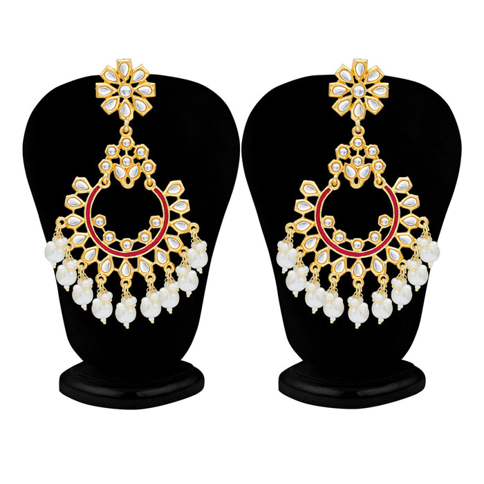 Sukkhi Antique Pearl Gold Plated Kundan Chandelier Earring For Women