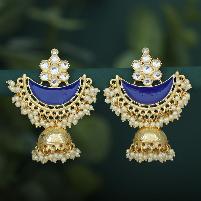 Sukkhi Ravishing Pearl Gold Plated Kundan Meenakari Jhumki Earring For Women