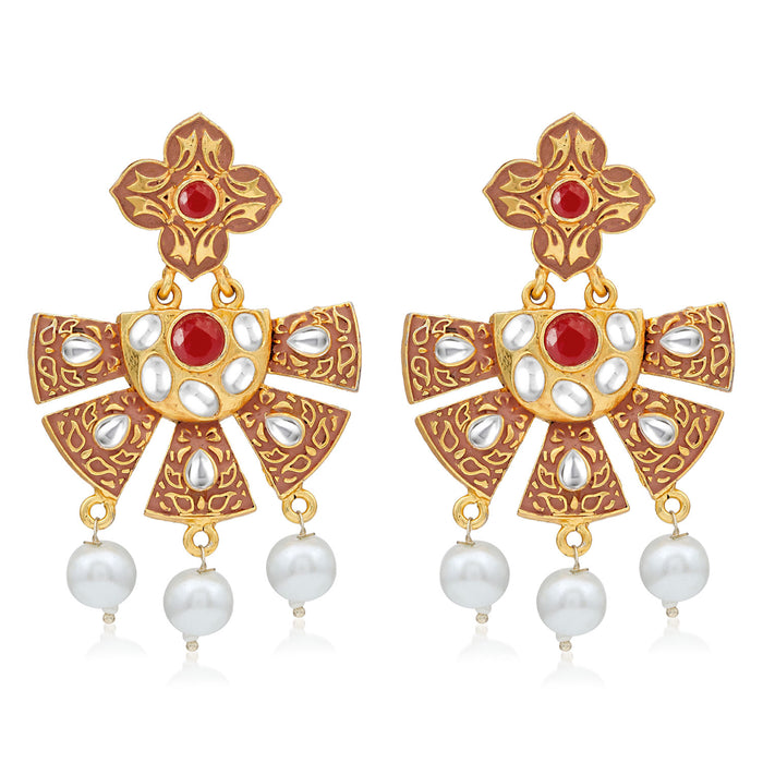 Sukkhi Graceful Gold Plated Pearl Mint Collection Dangle Earring For Women