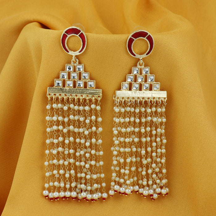 Sukkhi Classy Gold Plated Pearl Meenakari Chandelier Earring For Women