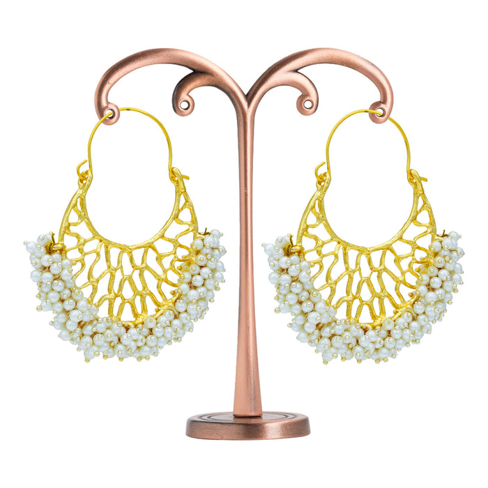 Sukkhi Modish Gold Plated Pearl Chandbali Earring For Women
