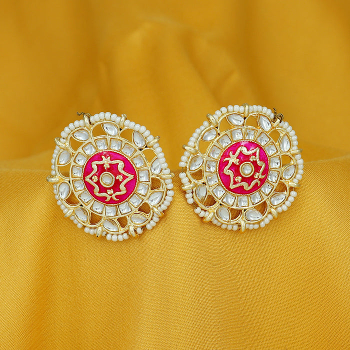 Sukkhi Fabulous Pearl Gold Plated Kundan Meenakari Stud Earring For Women