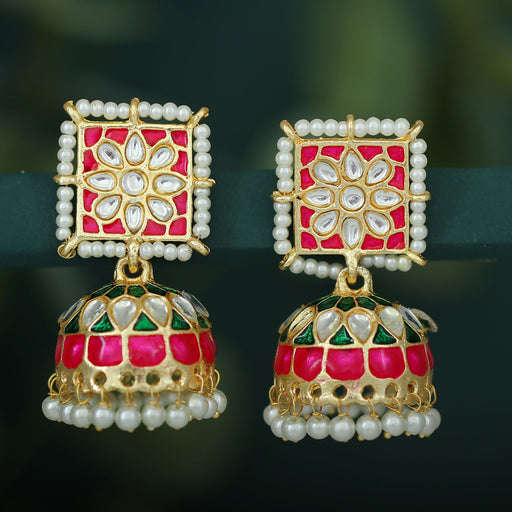 Sukkhi Ethnic Pearl Gold Plated Kundan Meenakari Jhumki Earring For Women