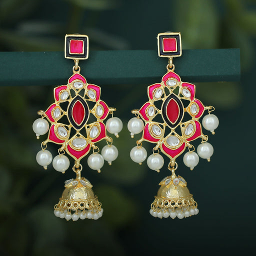 Sukkhi Gleaming Pearl Gold Plated Kundan Meenakari Jhumki Earring For Women