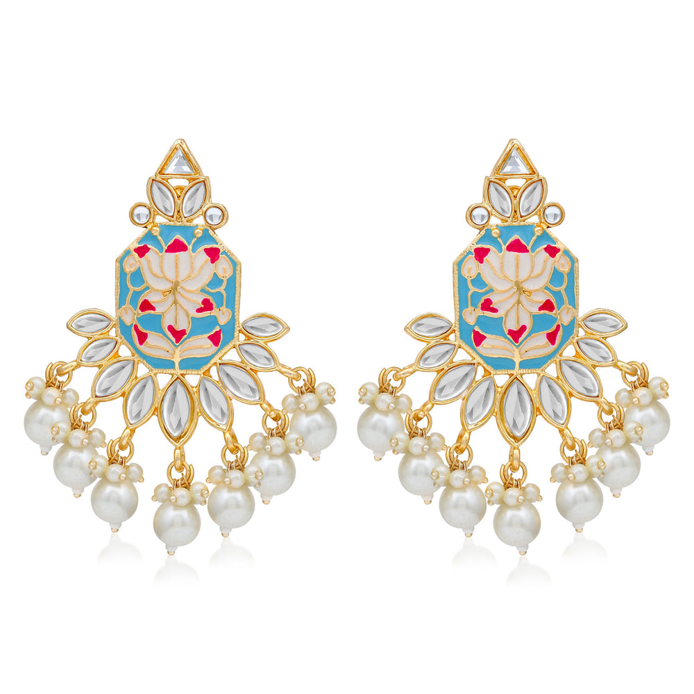 Sukkhi Glimmery Pearl Gold Plated Lotus Meenakari Dangle Earring For Women