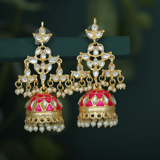 Sukkhi Trendy Pearl Gold Plated Meenakari Kundan Jhumki Earring For Women