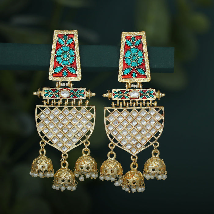 Sukkhi Amazing Pearl Gold Plated Kundan Floral Meenakari Chandelier Earring For Women