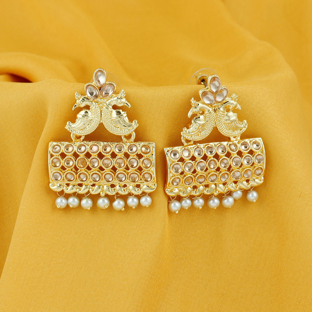 Sukkhi Glimmery Pearl Gold Plated Peacock Dangle Earring For Women