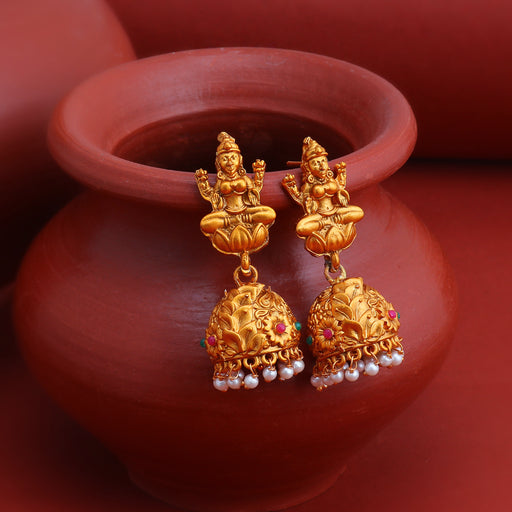 Sukkhi Modish Pearl Gold Plated Temple Jhumki Earring for Women
