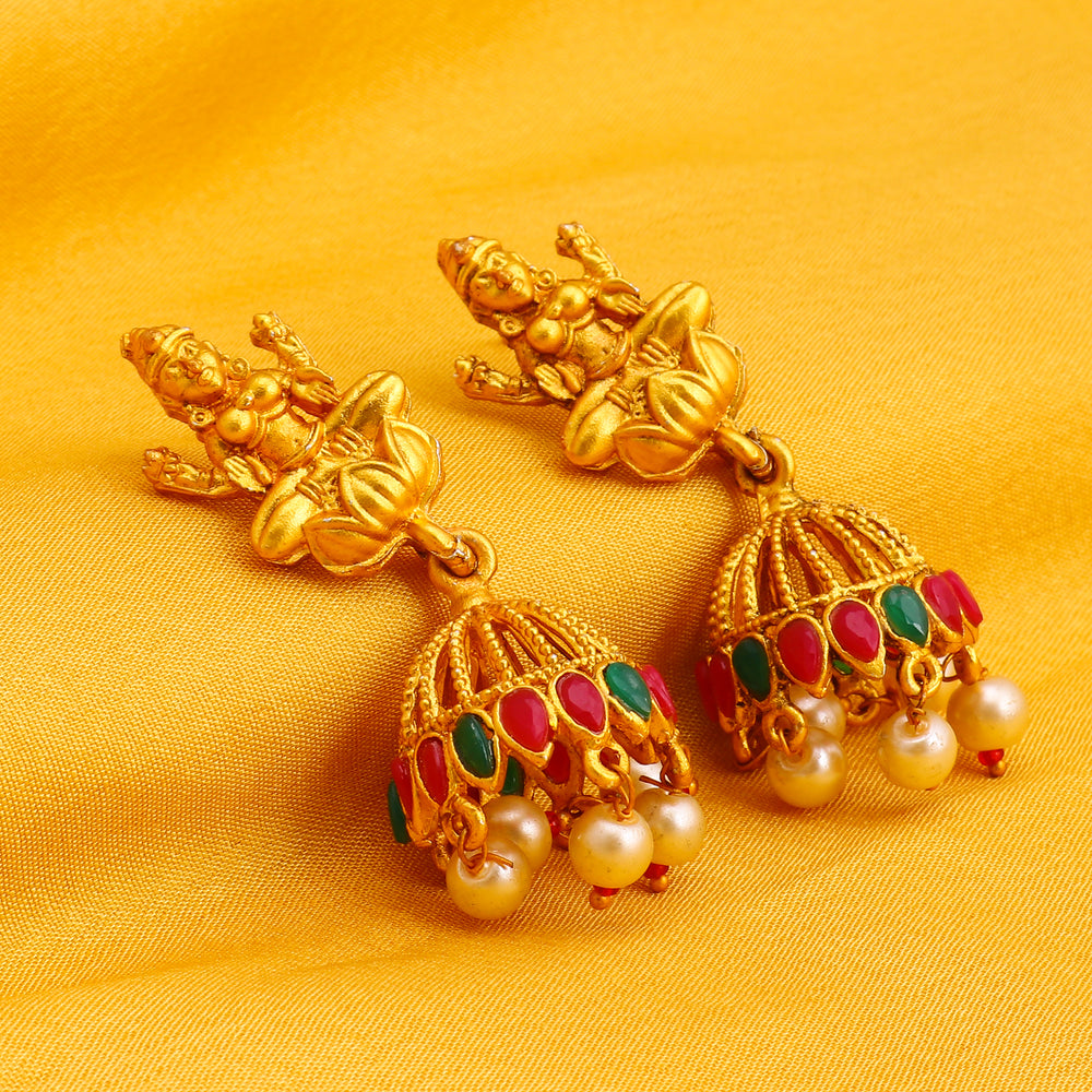 Sukkhi Antique Pearl Gold Plated Temple Jhumki Earring for Women