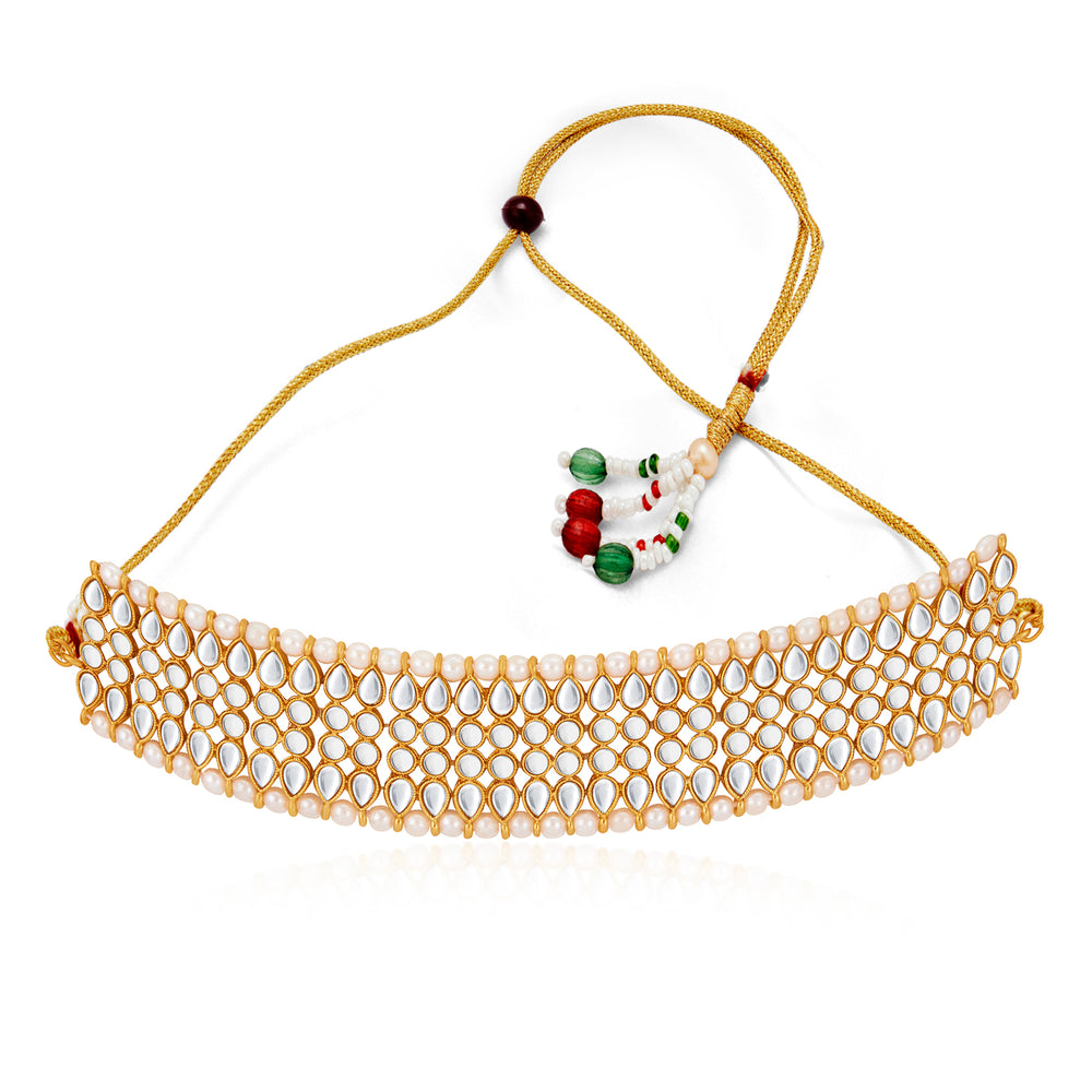 Sukkhi Glimmery Pearl Gold Plated Kundan Choker Necklace Set for Women