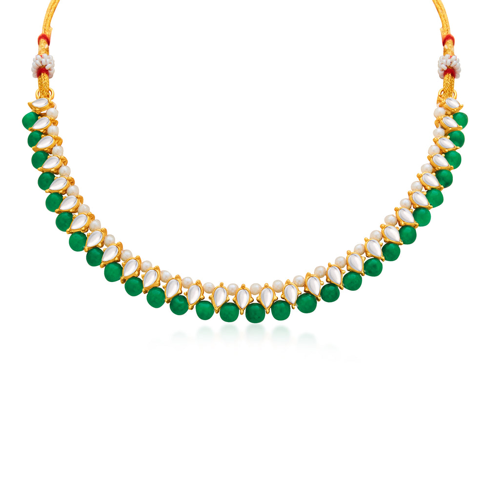 Sukkhi Delicate Gold Plated Green Pearl & Kundan Choker Necklace Set for Women