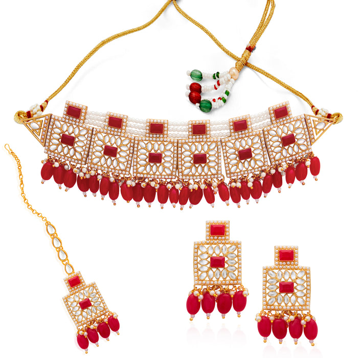 Sukkhi Classic Gold Plated Pink Pearl & Kundan Choker Necklace Set for Women