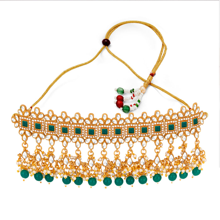 Sukkhi Ethnic Gold Plated Pearl & Kundan Choker Necklace Set for Women