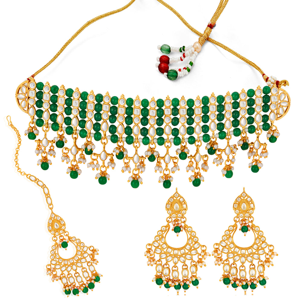 Sukkhi Stunning Gold Plated Green Pearl & Kundan Choker Necklace Set for Women
