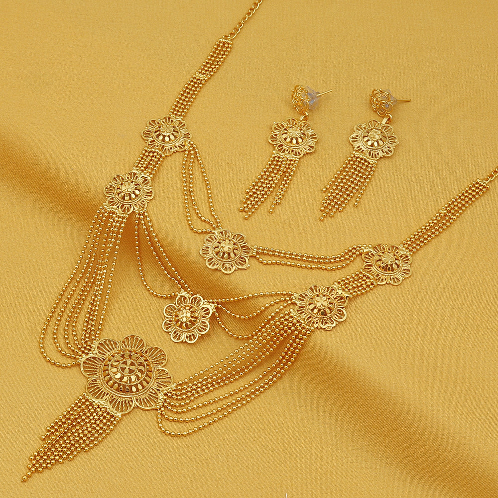 Sukkhi Amazing 24 Carat Gold Plated Multi-String Necklace Set for Women