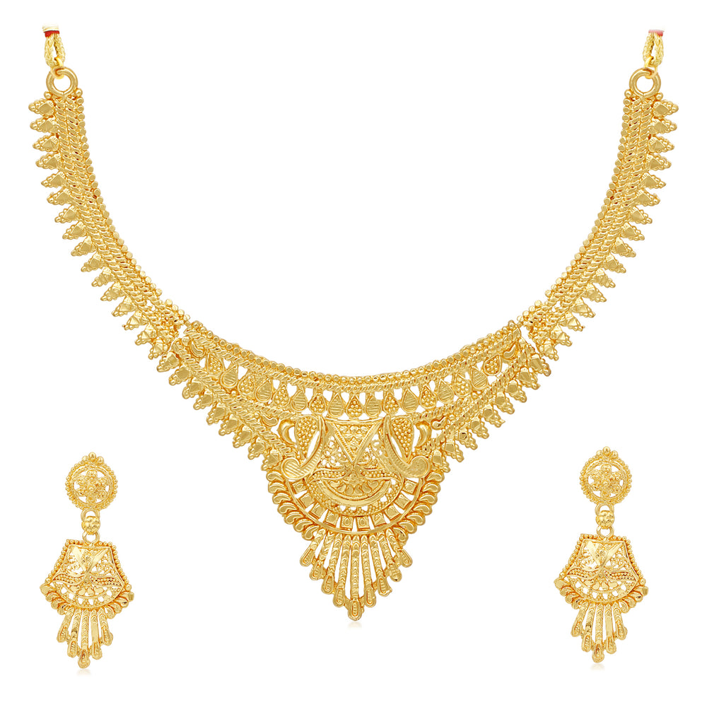 Sukkhi Exotic 24 Carat Gold Plated Choker Necklace Set for Women