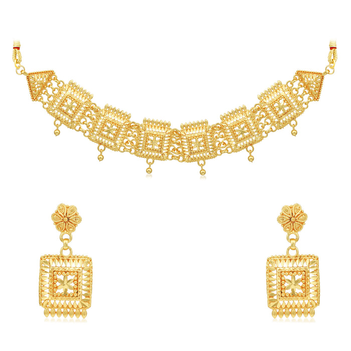 Sukkhi Glittery 24 Carat Gold Plated Choker Necklace Set for Women