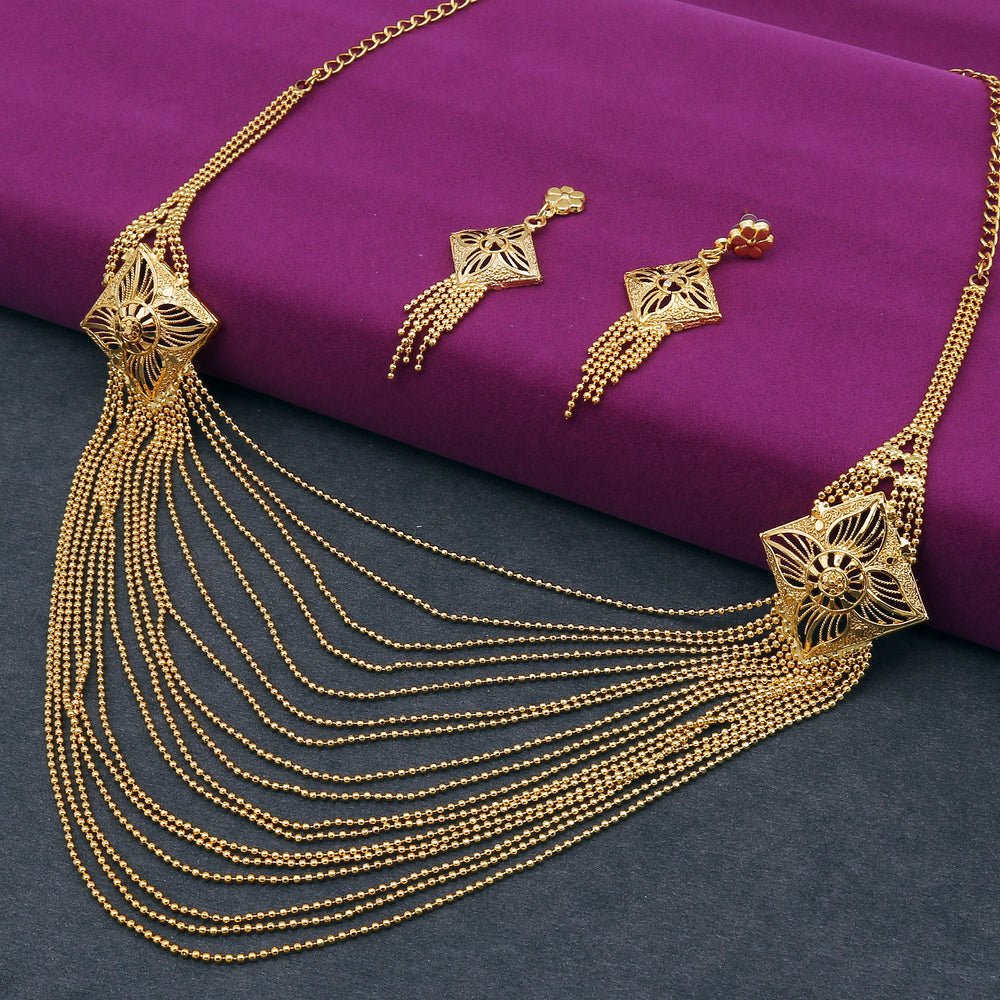 Sukkhi Ethnic 24 Carat Gold Plated Multi-String Necklace Set for Women