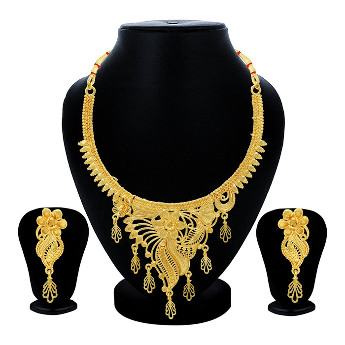 Sukkhi Lavish 24 Carat Gold Plated Floral Choker Necklace Set for Women