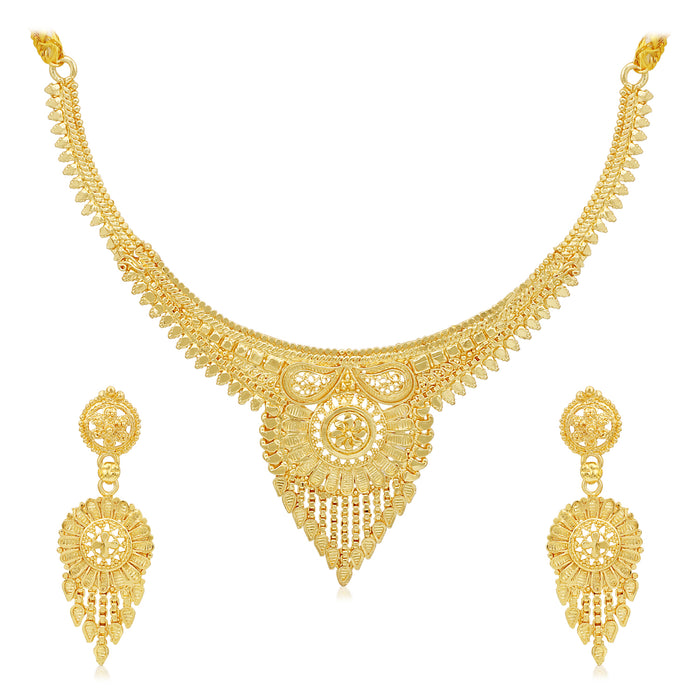 Sukkhi Lovely 24 Carat Gold Plated Choker Necklace Set for Women