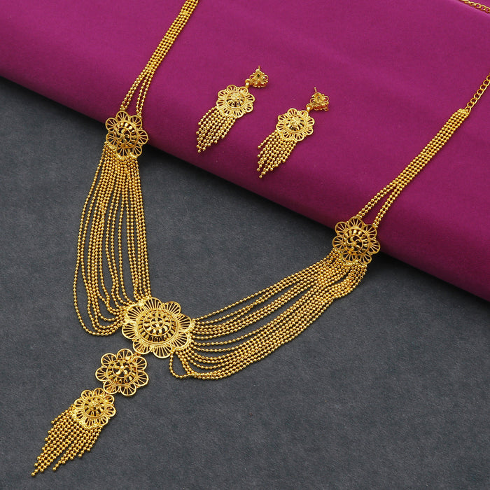 Sukkhi Lovely 24 Carat Gold Plated Floral Multi-String Necklace Set for Women