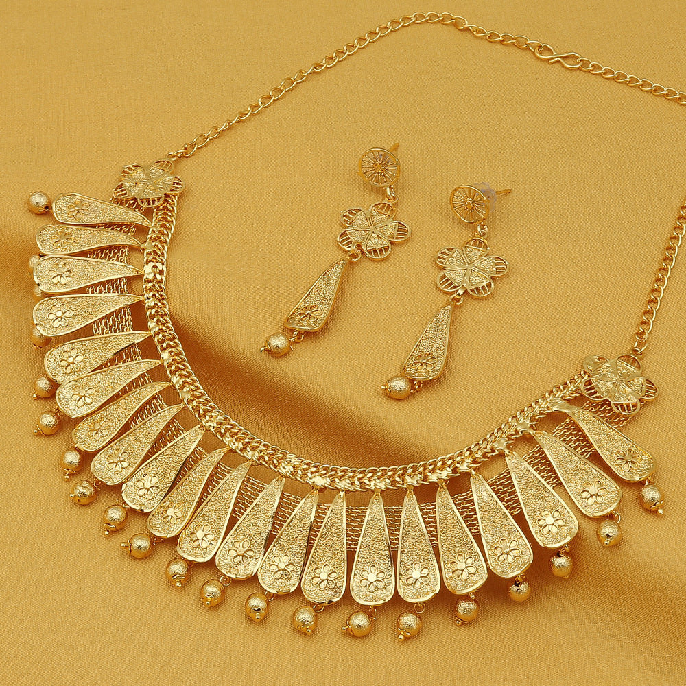 Sukkhi Elegant 24 Carat Gold Plated Floral Choker Necklace Set for Women