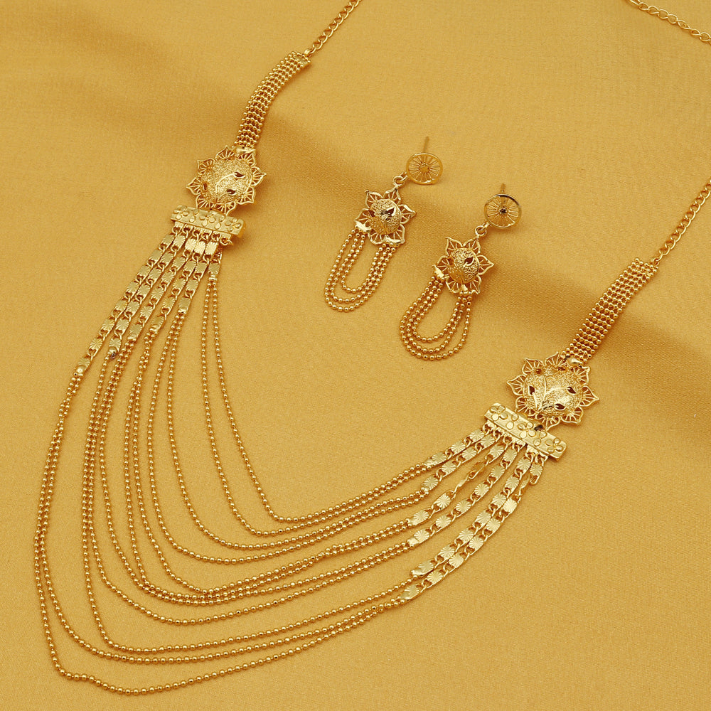 Sukkhi Glittery 24 Carat Gold Plated Multi-String Necklace Set for Women