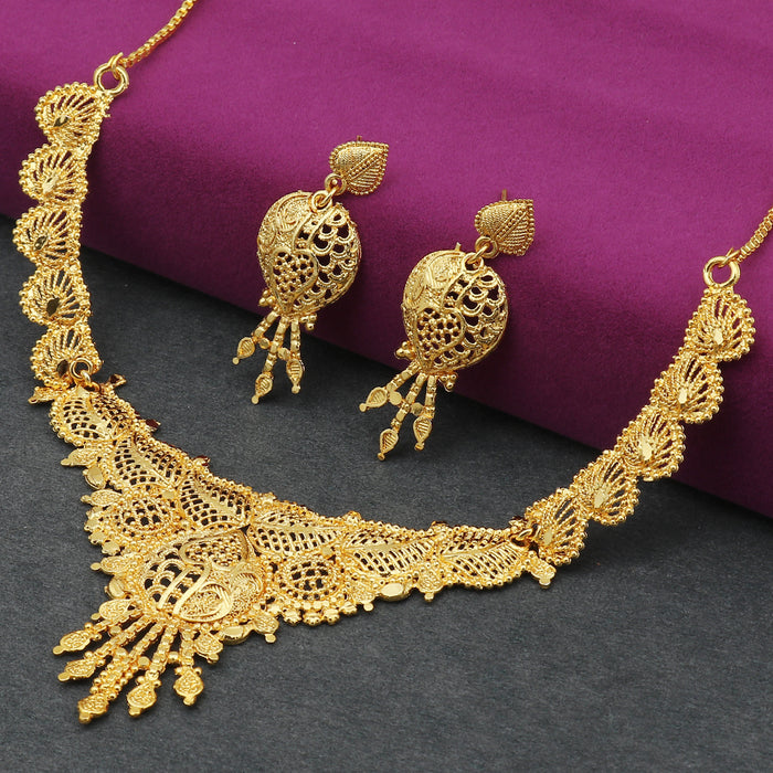 Sukkhi Astonish 24 Carat Gold Plated Leafy Choker Necklace Set for Women