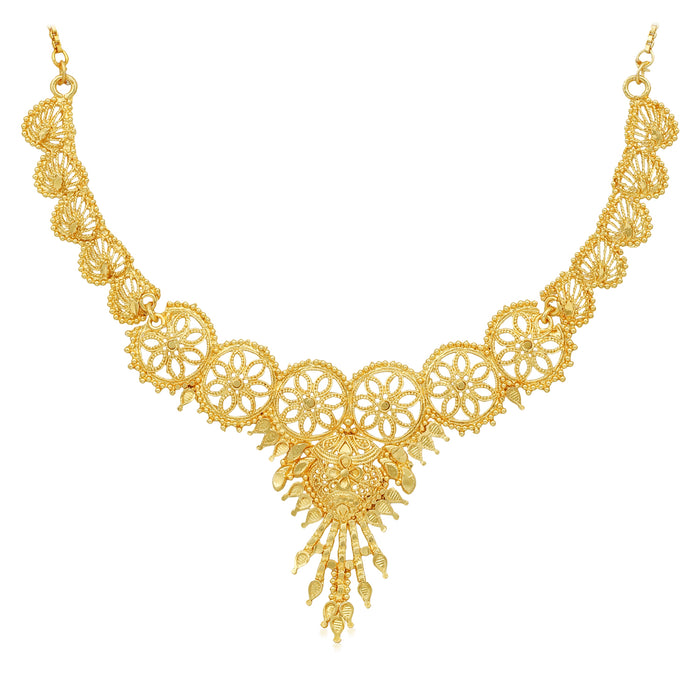 Sukkhi Classic 24 Carat Gold Plated Choker Necklace Set for Women