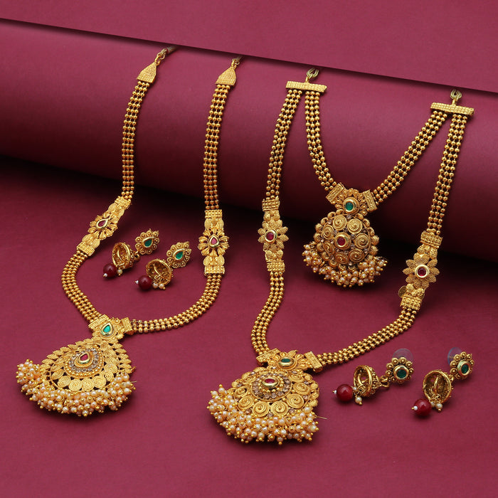Sukkhi Traditional Pearl Gold Plated Long Haram Set of 2 Necklace Combo for Women