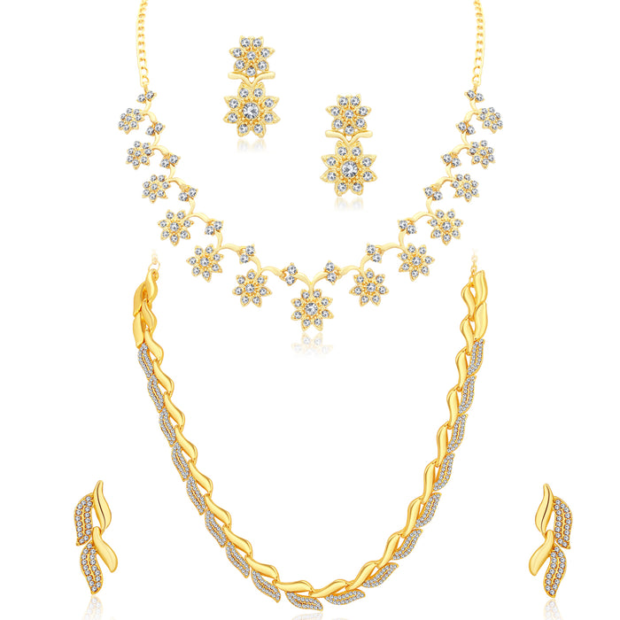 Sukkhi Exclusive Gold Plated Austrain Diamond Combo of 2 Necklace Set for Women