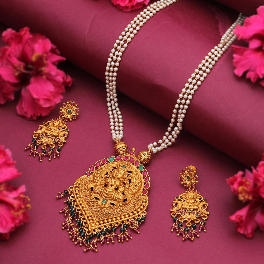 Sukkhi Traditional Gold Plated Goddess Temple Jewellery Pearl Long Haram Necklace Set for Women