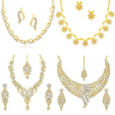 Sukkhi Glorious Gold Plated Wedding Jewellery Austrian Diamond Combo of 4 Necklace Set for Women