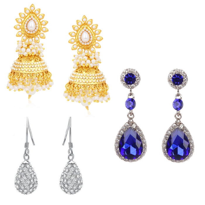 Sukkhi Amazing Oxidised & Gold Plated Combo Set of 3 Earring for Women