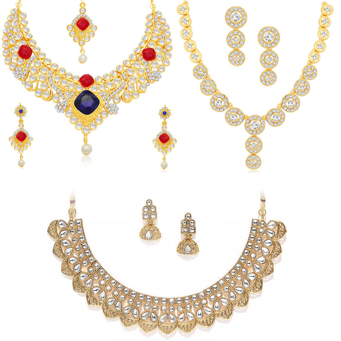 Sukkhi Glimmery Gold Plated Kundan Choker Necklace Combo Set of 3 for Women