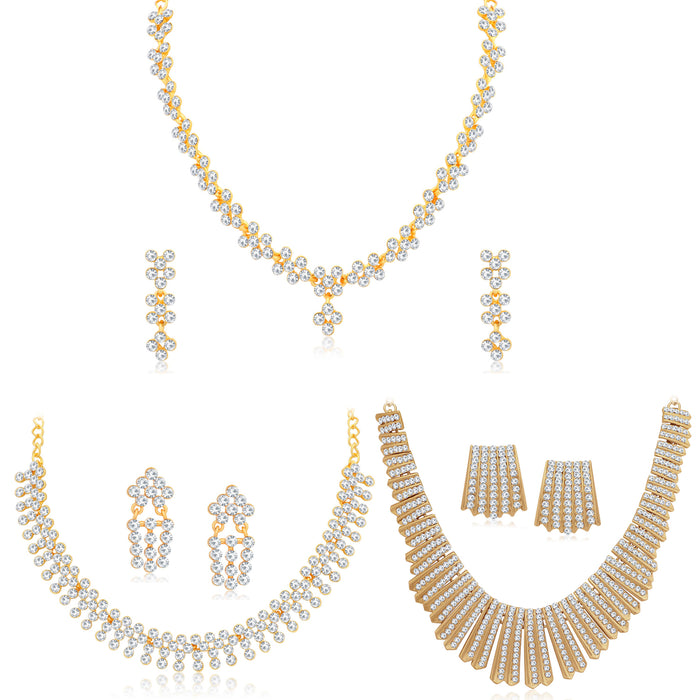 Sukkhi Splendid Gold Plated Austrian Diamond Necklace Combo Set of 3 for Women