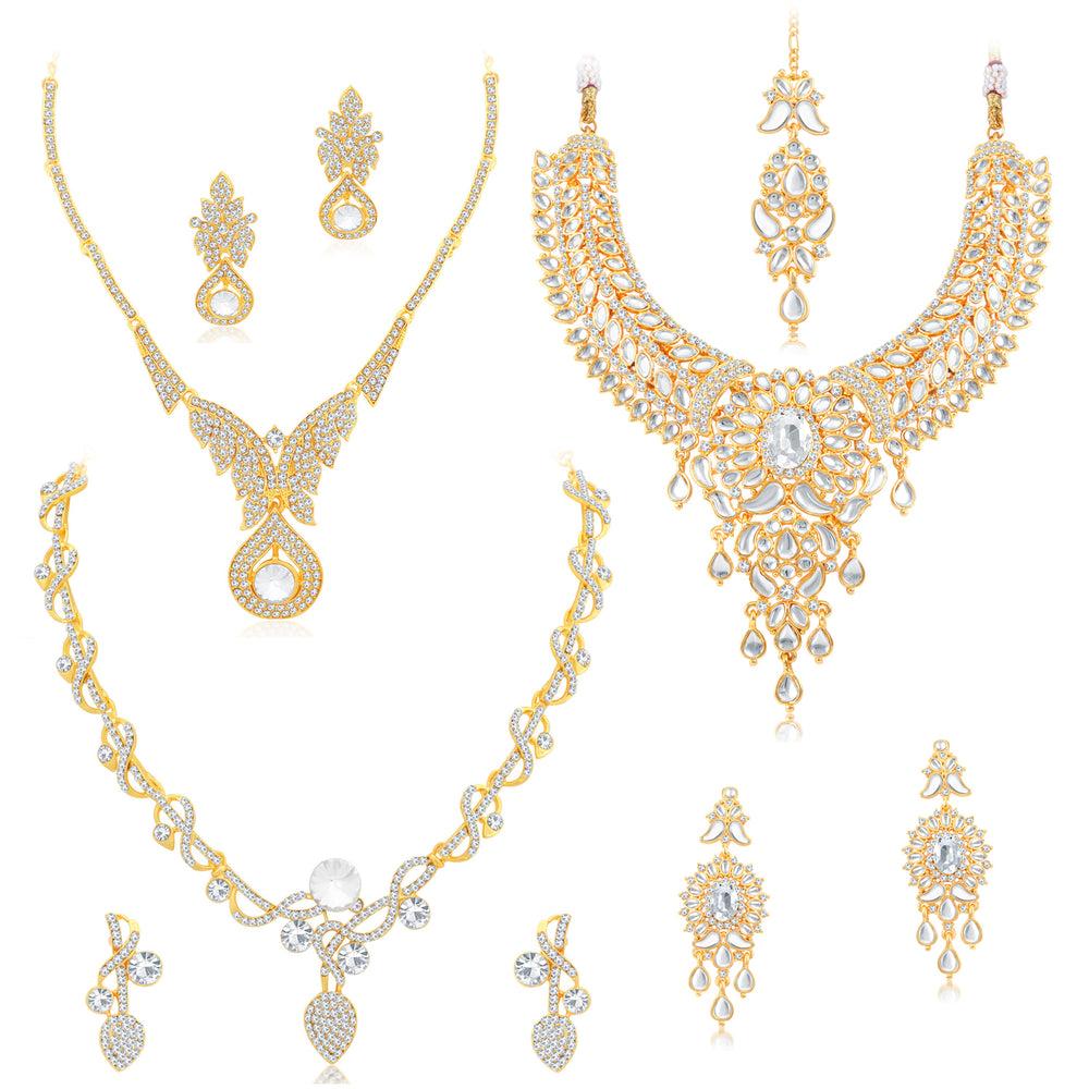 Sukkhi Attractive Kundan Gold Plated Austrian Diamond Choker Necklace Combo Set of 3 for Women