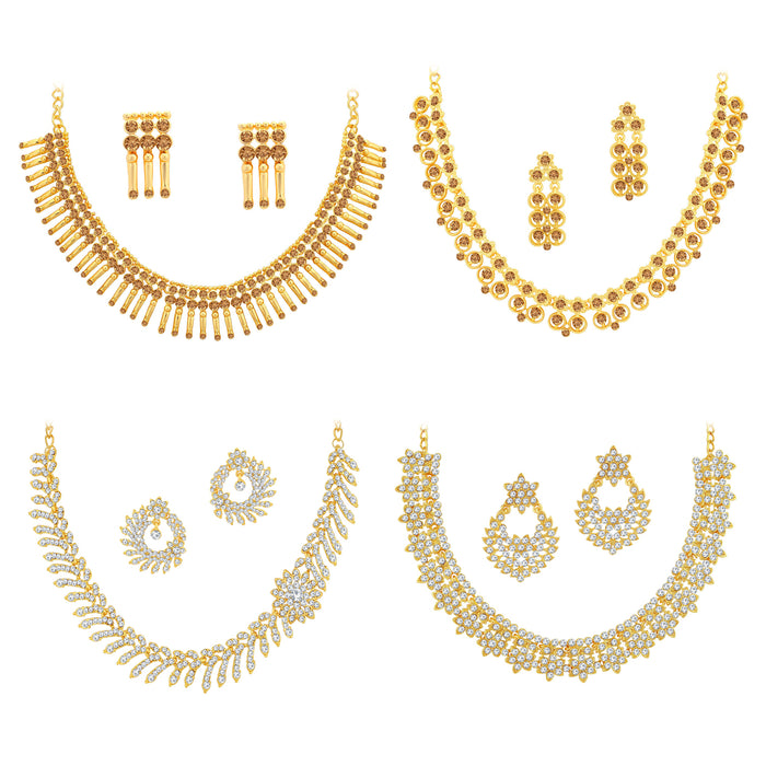 Sukkhi Sparkling LCT Gold Plated Austrian Diamond Choker Necklace Combo Set of 4 for Women