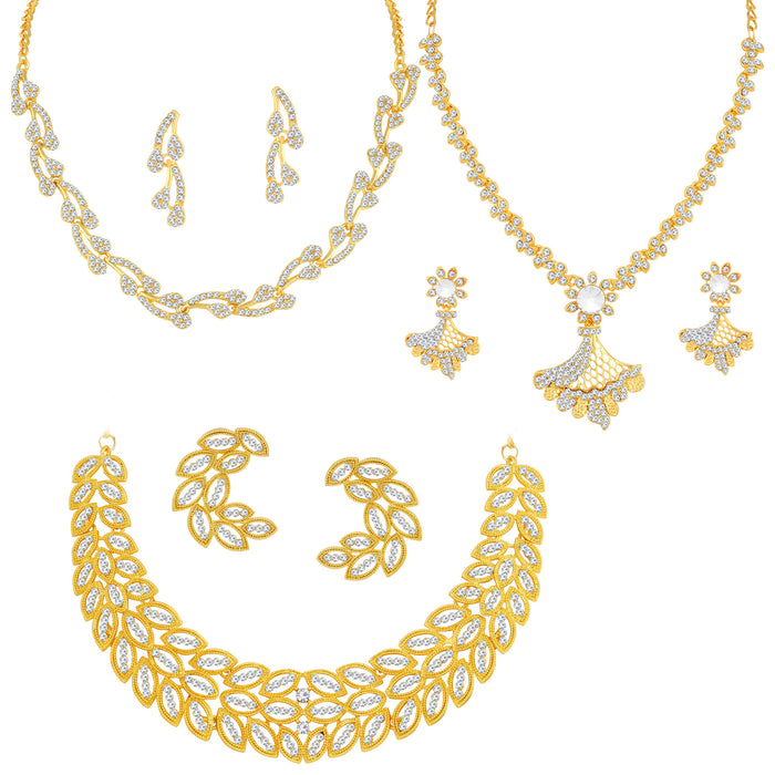 Sukkhi Exclusive Gold Plated Austrian Diamond Necklace Combo Set of 3 for Women