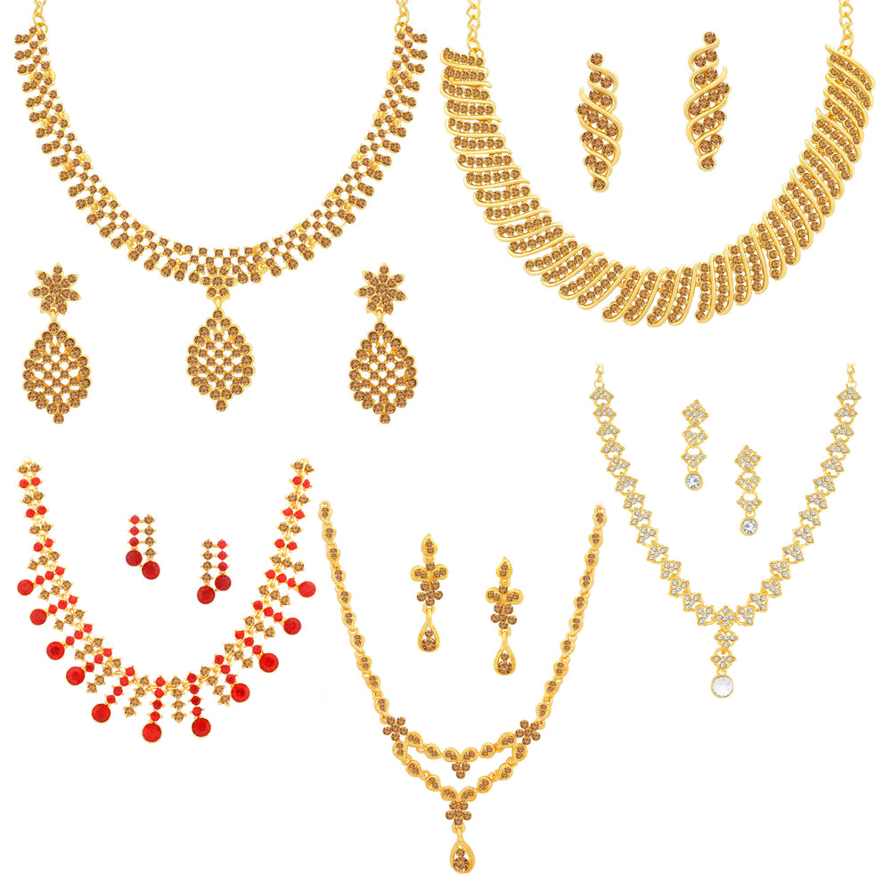 Sukkhi Eye-Catching Gold Plated LCT & Red Stone Necklace Combo Set of 5 for Women