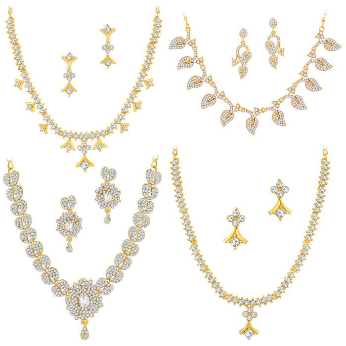 Sukkhi Pretty Gold Plated Austrian Diamond Necklace Combo Set of 4 for Women