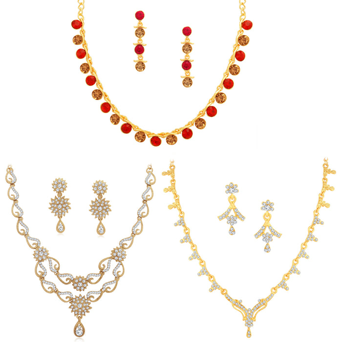 Sukkhi Glistening LCT Gold Plated Austrian Diamond Necklace Combo Set of 3 for Women