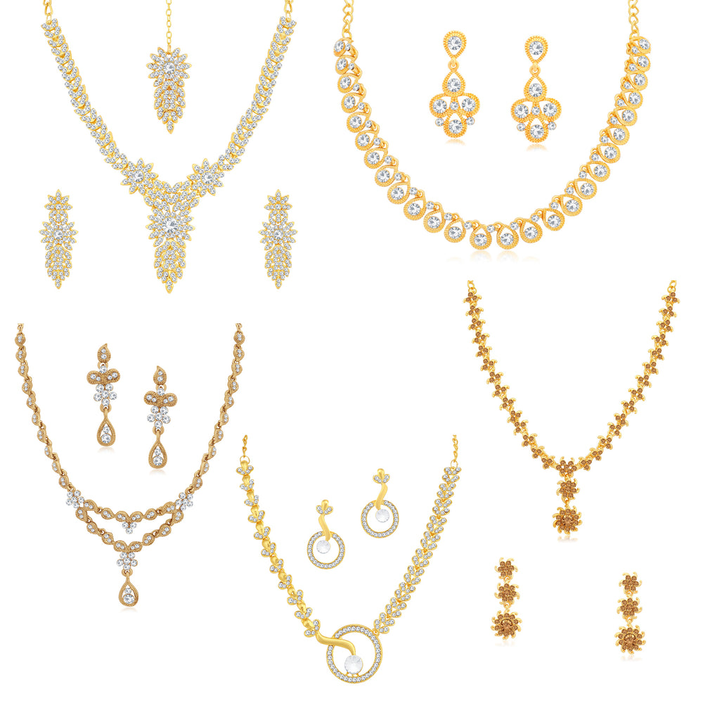 Sukkhi Pleasing LCT Gold Plated Austrian Diamond Necklace Combo Set of 5 for Women