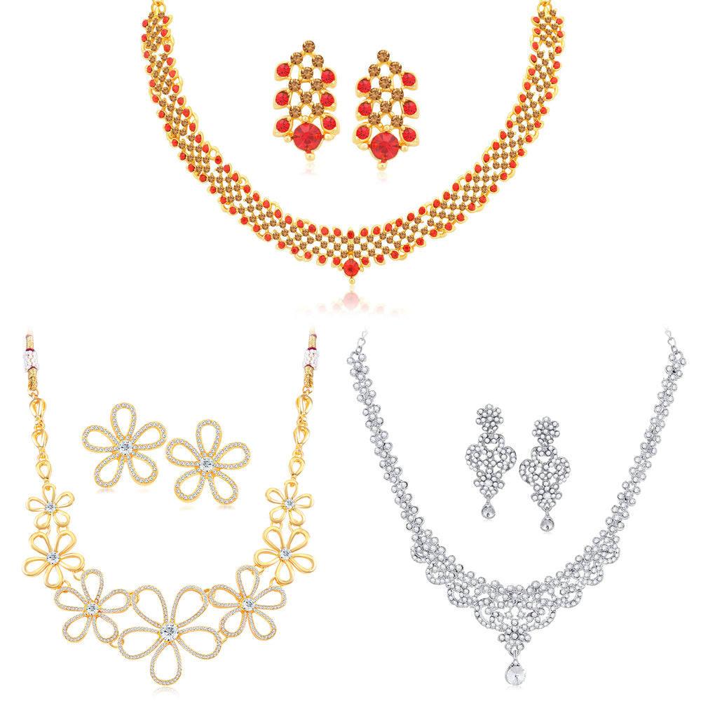 Sukkhi Amazing LCT Gold Plated Austrian Diamond Floral Necklace Combo Set of 3 for Women