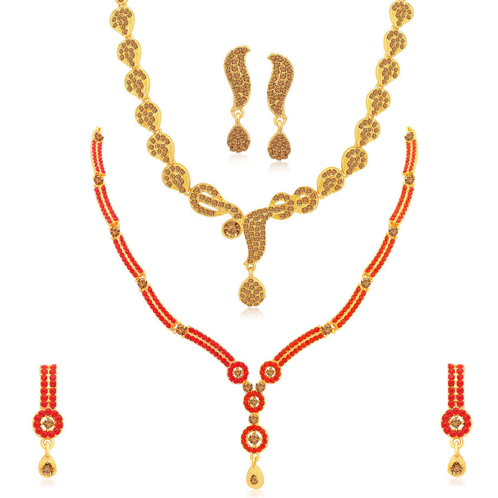 Sukkhi Lovely Gold Plated LCT & Red Stone Necklace Combo Set of 2 for Women