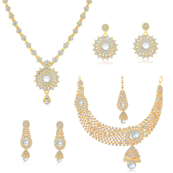 Sukkhi Glitzy Gold Plated Austrian Diamond Necklace Combo Set of 2 for Women